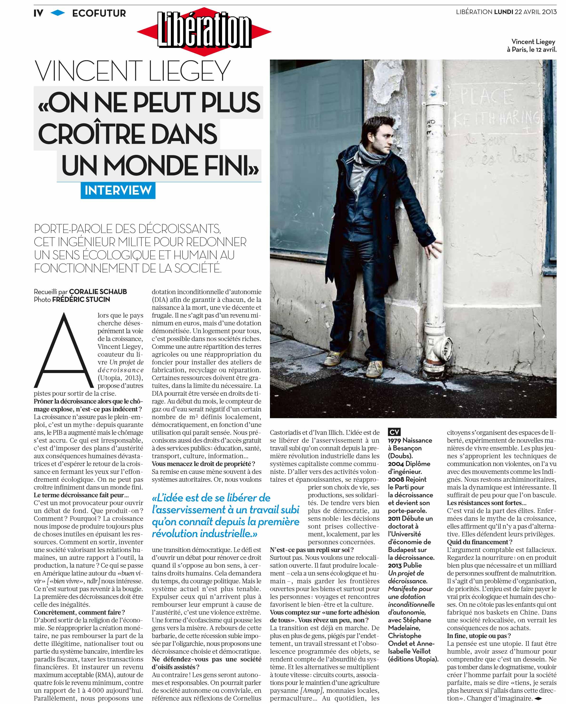 Libération du Lundi 22 Avril 2013